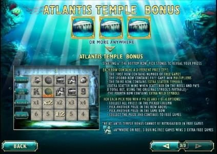 how to play the temple bonus feature