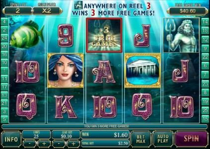 zeus symbol on reel 3 triggers 3 free spins