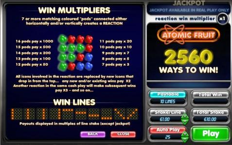 win multipliers and payline diagrams