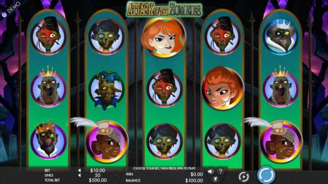 Omnia featuring the Video Slots Attack of the Zombies with a maximum payout of $7,500