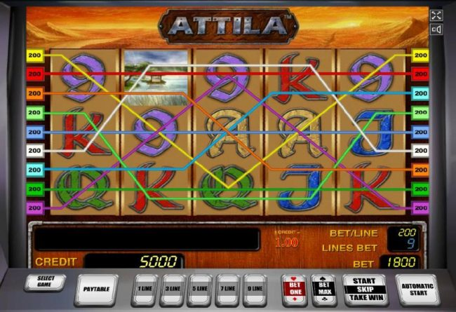 Attila :: Main game board based a fierce warrior and king theme, featuring five reels and 9 paylines with a $2,000,000 max payout