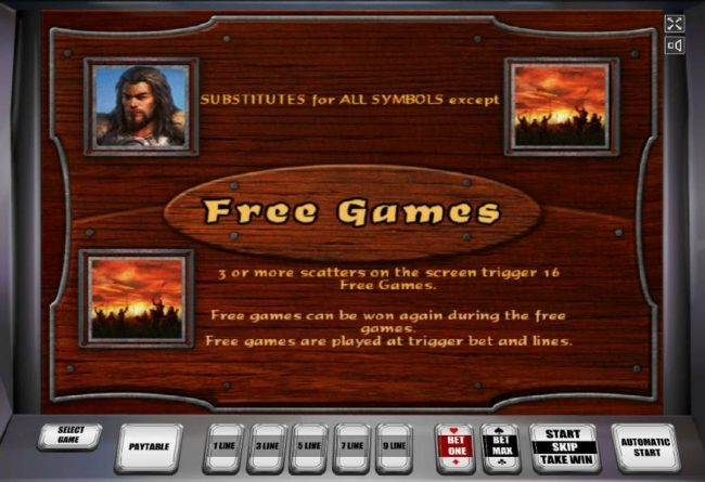 Attila :: Thw wild symbols is represented by Attila and substitutes for all symbols except scatter. Three or more scatter symbols on the screen trigger 16 free games. Free games can be won again during the free games.