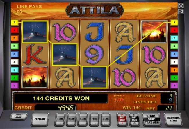 Attila :: A three of a kind and a pair of scatter symbols leads to a 144 coin payout