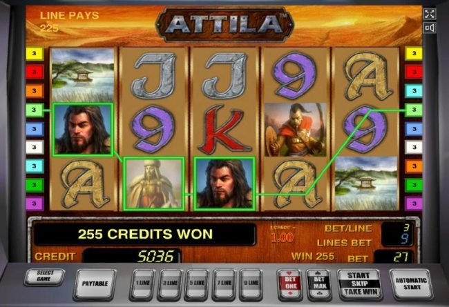 Attila :: Wild symbols combine to form a three of a kind and a 255 coin big win.