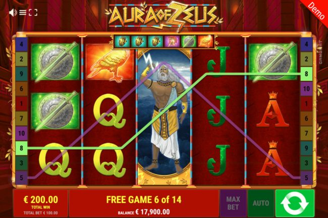 Play slots at Montecryptos: Montecryptos featuring the Video Slots Aura of Zeus with a maximum payout of $50,000