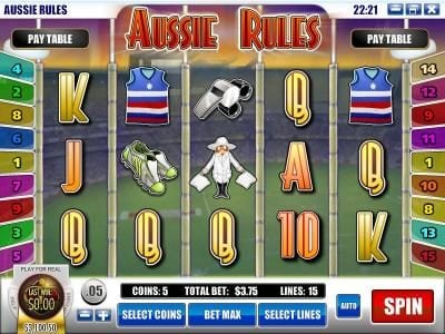Play slots at Casino Royal Club: Casino Royal Club featuring the Video Slots Aussie Rules with a maximum payout of $25,000