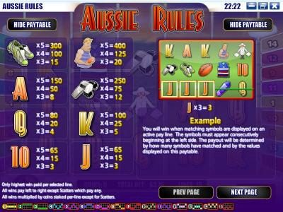 Play slots at Wizbet: Wizbet featuring the Video Slots Aussie Rules with a maximum payout of $25,000