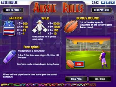 This Is Vegas featuring the Video Slots Aussie Rules with a maximum payout of $25,000