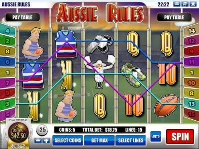 Rich featuring the Video Slots Aussie Rules with a maximum payout of $25,000