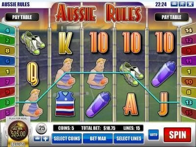 Winbig21 featuring the Video Slots Aussie Rules with a maximum payout of $25,000