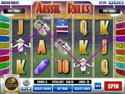 Spartan Slots featuring the Video Slots Aussie Rules with a maximum payout of $25,000