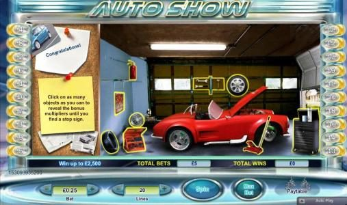 select items in the garage to earn additional multipliers
