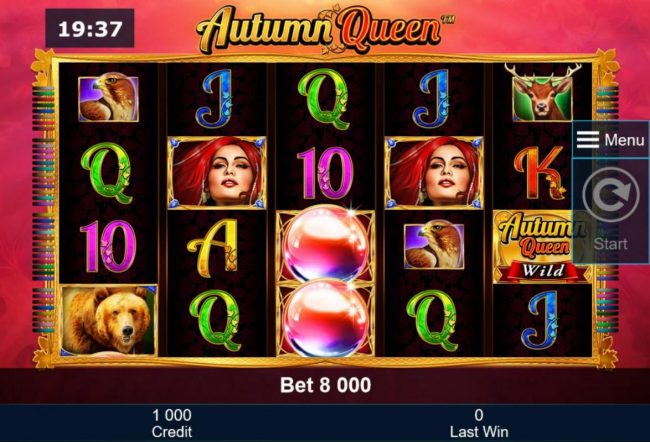 Autumn Queen :: A nature themed main game board featuring five reels and 40 paylines with a $40,000 max payout