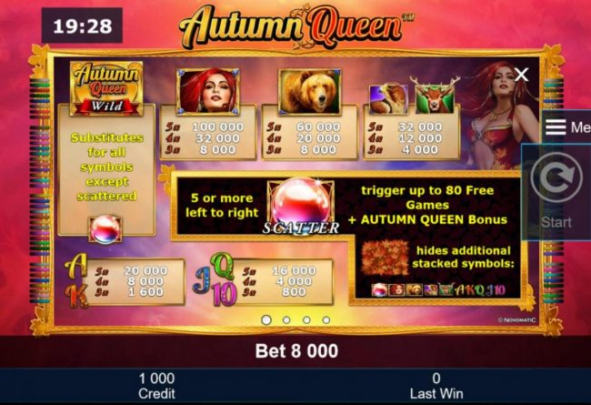 Autumn Queen :: Slot game symbols paytable featuring nature and animal themed icons.