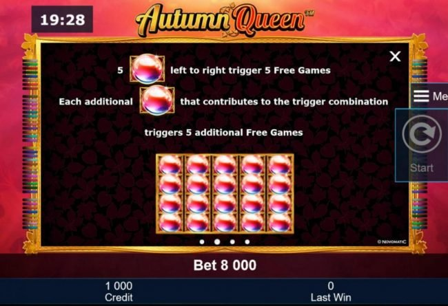 Autumn Queen :: Five crystal orbs keft to right trigger 5 Free Games. Each additinal crystal orb that contributes to the trigger combination, triggers 5 additional free games.