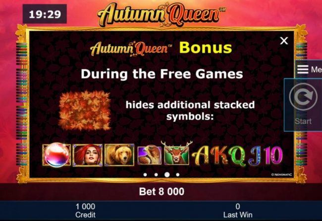 Autumn Queen :: During the Free Games, leaf symbol hides additional stacked symbols