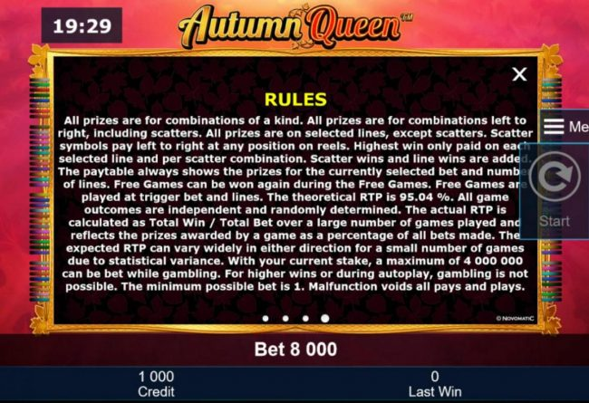 Autumn Queen :: General Game Rules