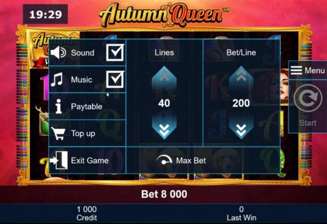 Autumn Queen :: Adjust the number of lines played and/or Bet per line.