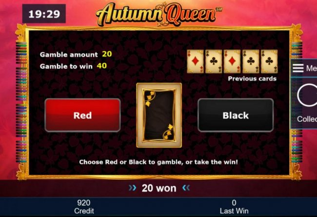 Autumn Queen :: Gamble Feature - To gamble any win press Gamble then select Red or Black.