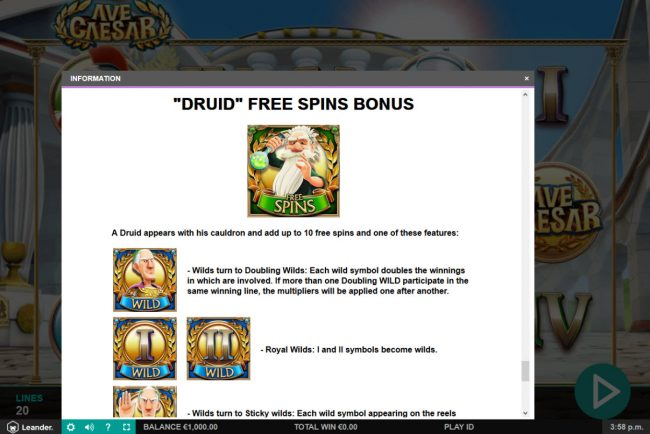VIP Casino featuring the Video Slots Ave Caesar with a maximum payout of $60,000