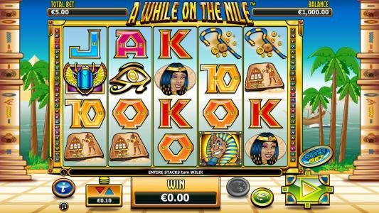 A While on the Nile :: Main game board featuring five reels and 50 paylines with a $41,250 max payout