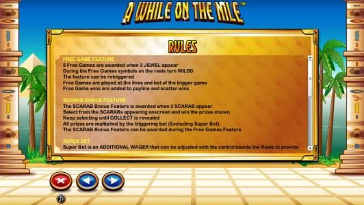 A While on the Nile :: General Game Rules - Free Game Feature and Scarab Bonus Feature