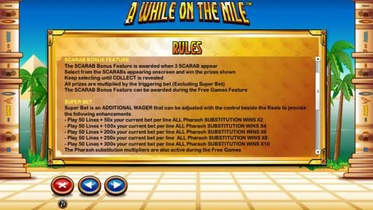A While on the Nile :: General Game Rules - Super Bet and Scarab Bonus Feature