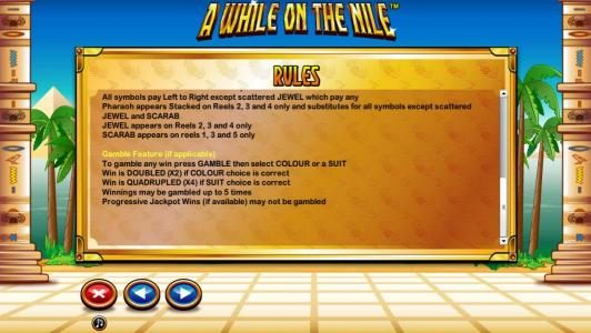 A While on the Nile :: General Game Rules - Gamble Feature