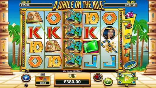 A While on the Nile :: A $380 jackpot awarded after x4 wilds tigger multiple winning paylines.