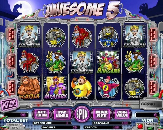 Elegant VIP featuring the Video Slots Awesome 5 with a maximum payout of $15,000