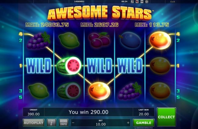 Fun Casino featuring the Video Slots Awesome Stars with a maximum payout of $25,000