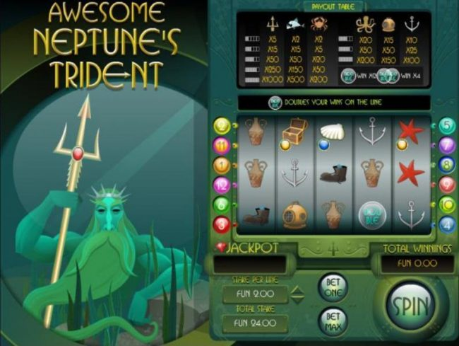 Queen Vegas featuring the Video Slots Awesome Neptune's Trident with a maximum payout of $8,000