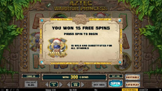 TS featuring the Video Slots Aztec Warrior Princess with a maximum payout of $6,250