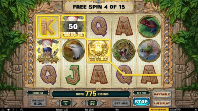 Wild Slots featuring the Video Slots Aztec Warrior Princess with a maximum payout of $6,250