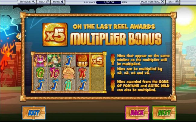 A multiplier on the last reel awards the Multiplier Bonus. Wins that appear on the same winline as the multiplier will be multplied.