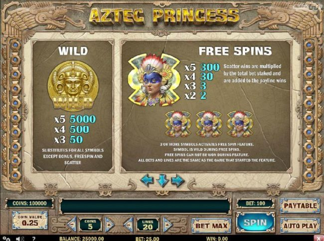 Aztec Princess :: Wild symbol paytable and scatter symbols pays. Three or more princess scatter symbols activates the free spins feature.