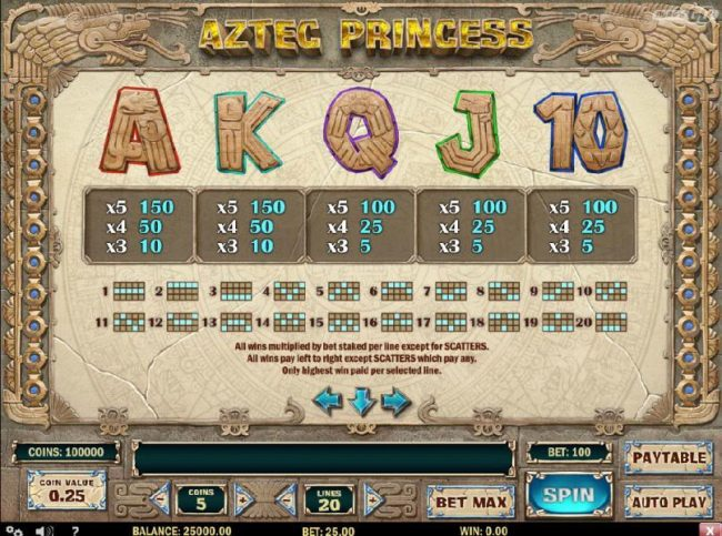 Aztec Princess :: Low value game symbols paytable and payline diagrams 1-20
