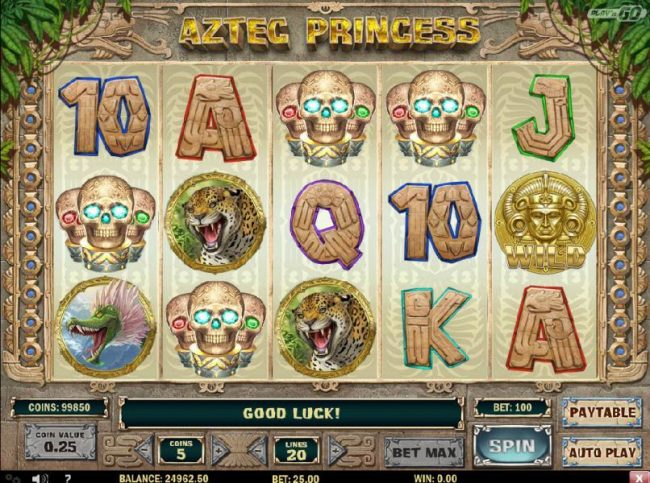 Aztec Princess :: Bonus feature triggered by four skull symbols