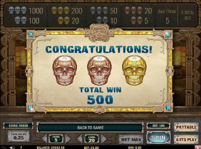 Instacasino featuring the Video Slots Aztec Princess with a maximum payout of $6,250