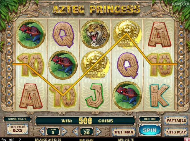 Aztec Princess :: A five of a kind triggers a 500 coin line pay.