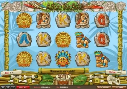 Red Queen featuring the Video Slots Aztec Secrets with a maximum payout of £22,500