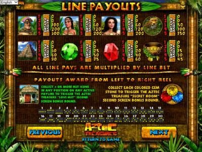 Playamo featuring the Video Slots Aztec Treasures 3D with a maximum payout of $7,500