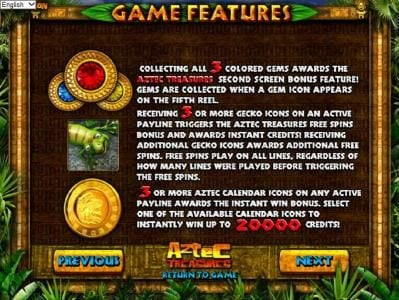 Supreme Play featuring the Video Slots Aztec Treasures 3D with a maximum payout of $7,500