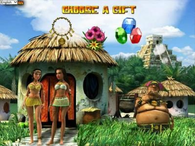 Aztec Treasures 3D :: love hut bonus feature game board - choose from one of three gifts located at the top of the game board