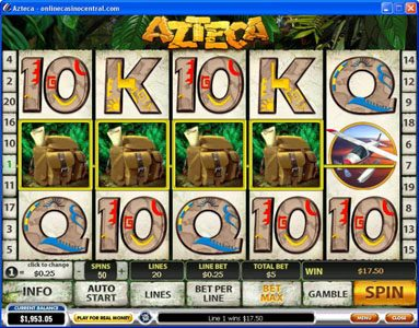 Betfair featuring the Video Slots Azteca with a maximum payout of $50,000