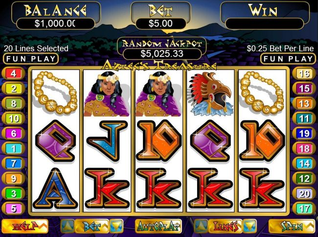 Grand Rush featuring the video-Slots Aztec's Treasure with a maximum payout of $250,000