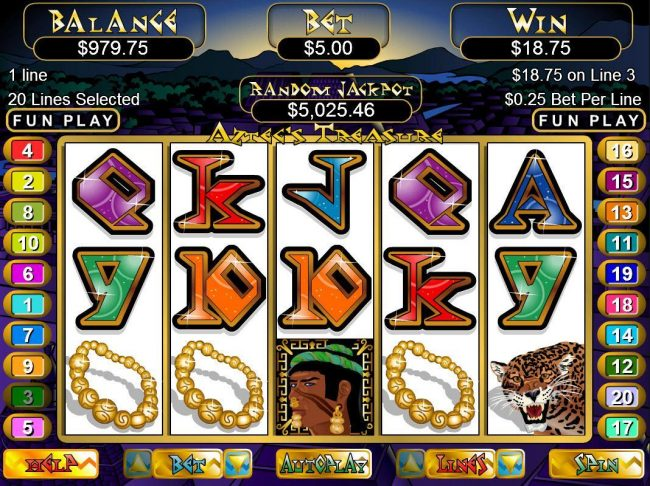 Manhattan Slots featuring the video-Slots Aztec's Treasure with a maximum payout of $250,000