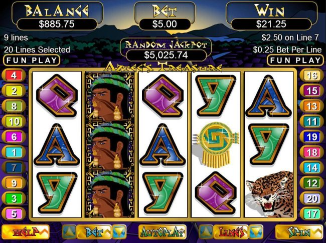 Las Vegas USA featuring the video-Slots Aztec's Treasure with a maximum payout of $250,000