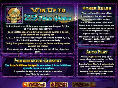 Roaring 21 featuring the Video Slots Aztec's Millions with a maximum payout of $250,000