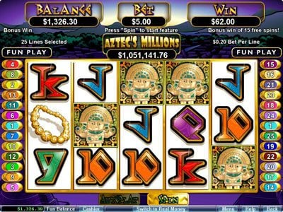 Lucky Red featuring the Video Slots Aztec's Millions with a maximum payout of $250,000